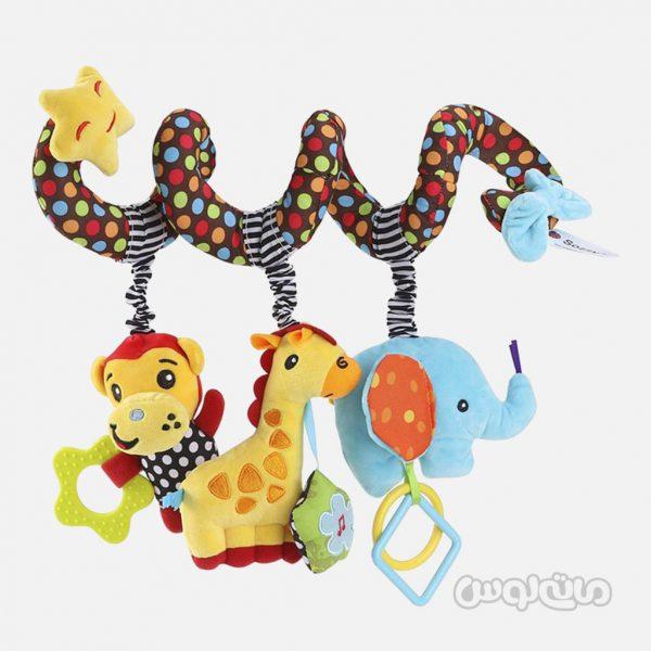آویز کالسکه و کریر فیل و زرافه و میمون نوزادی سوزی