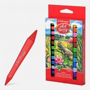مداد شمعی پلاستیکی 12 رنگ دو طرفه آرت بری