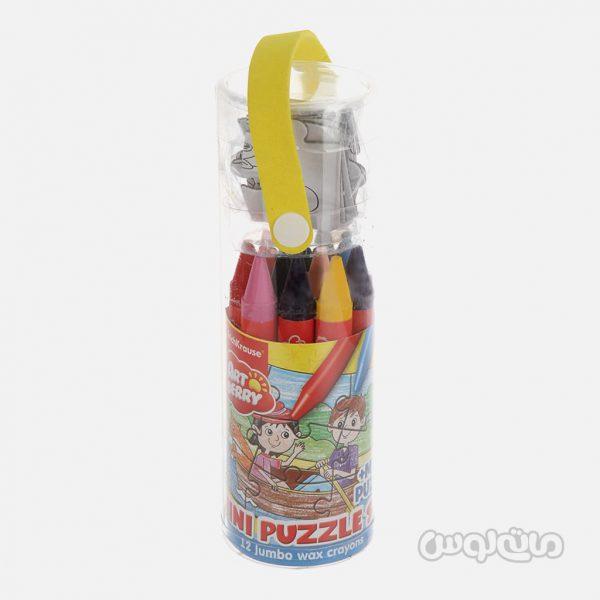 مداد شمعی 12 رنگ همراه با پازل آرت بری