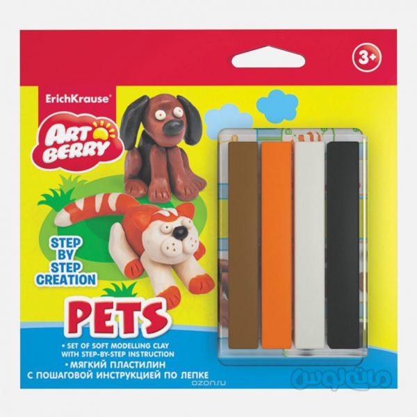 خمیر بازی نرم 4 رنگ حیوانات خانگی آرت بری