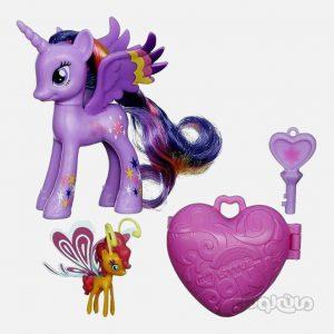 عروسک ست 2 عددی اسب پونی همراه با مینی پونی سری لیتل پونی هزبرو