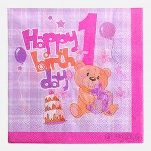 دستمال سفره کاغذی تولد یک سالگی خرسی (صورتی) بسته 20 تایی رول آپ