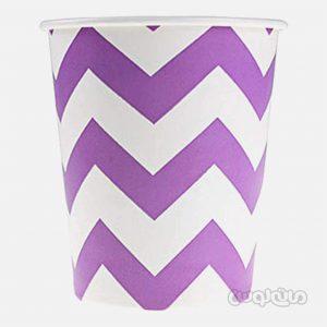 لیوان کاغذی راه راه بنفش بسته 8 تایی رول آپ