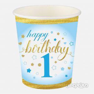 لیوان کاغذی تولد یک سالگی آبی بسته 8 تایی رول آپ