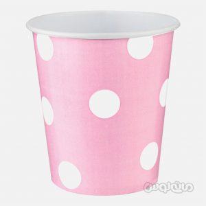 لیوان کاغذی خالدار صورتی بسته 8 تایی رول آپ