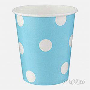 لیوان کاغذی خالدار آبی بسته 8 تایی رول آپ