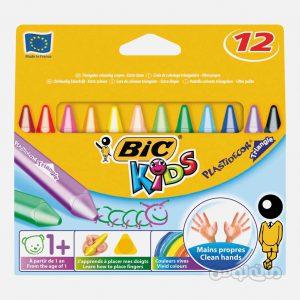 مداد شمعي 12 رنگ 3 پهلو سری کيدز بيک