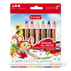 مداد 6 رنگ نرم سری ارلي لرنينگ برونزيل