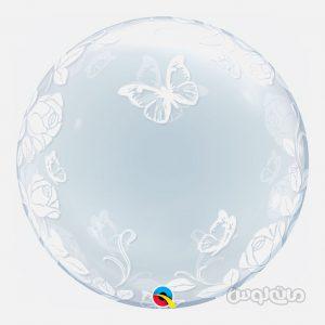 بادکنک 22 اينچ پلاستيکي پروانه هاي نقره ای کوالاتکس