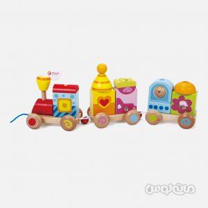 قطار اشکال رنگارنگ چوبی سری پوش اند پول کلاسيک ورلد