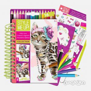 دفترچه طراحی کیتی لاو همراه با مداد 16 رنگ استايل مي آپ