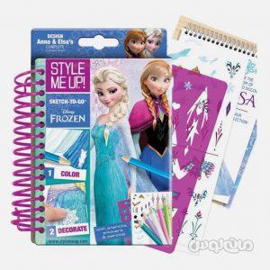 دفترچه طراحی لباس السا و آنا همراه با مداد 16 رنگ استايل مي آپ