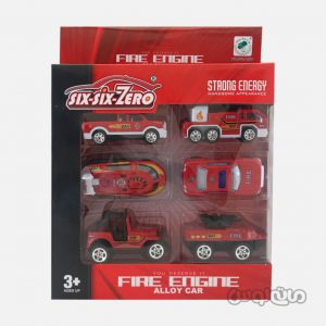 ست 6 عدد ماشین آتشنشانی مدل کوچک 1:64 قرمز رنگ سیکس سیکس زیرو