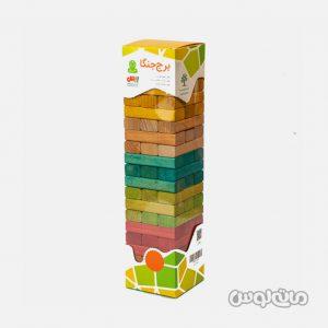 بازی فکری چوبی جنگا برجی از بلوک های چوبی رنگی
