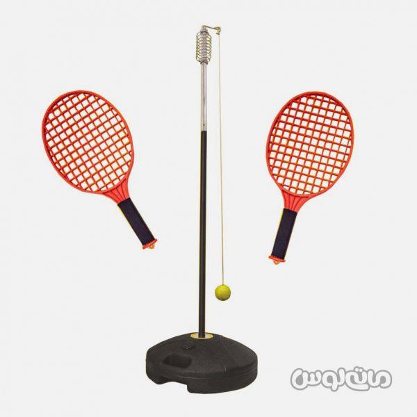 اسباب بازی تنی بال فن آموز شامل 2 دسته تنیس و یک توپ به نخ آویخته شده