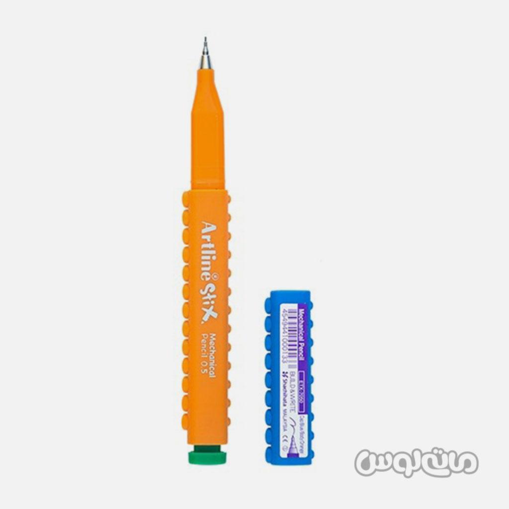 مداد مکانیکی 0/5 بدنه آبی نارنجی سری استیکس آرت لاین