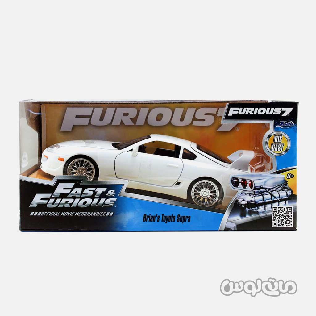 ماشین مدل تویوتا سوپرا سفید سری فست اند فیورس جادا با جعبه