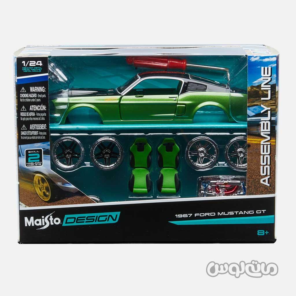 ماشین مدل فورد موستانگ GT 9:24 مشکی سبز مایستو