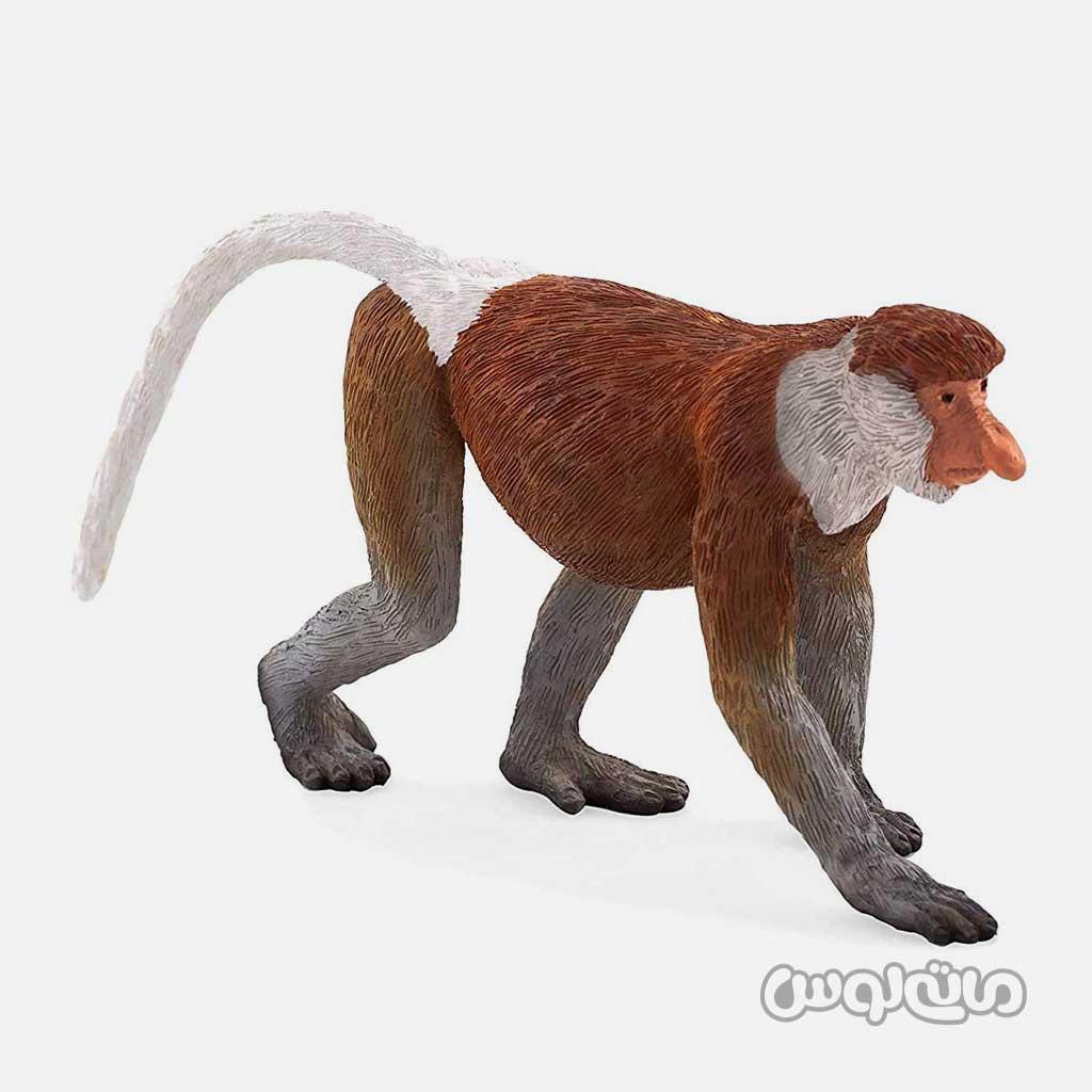 فیگور میمون پوزه دار که دماغی بلند داره به رنگ قهوه ای سفید موجو