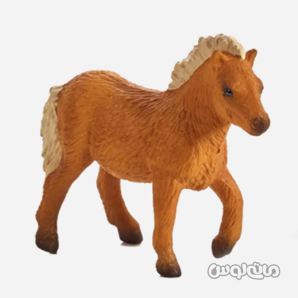 فیگور کره اسب شتلند قهوه ای با یال های کرم رنگ موجو