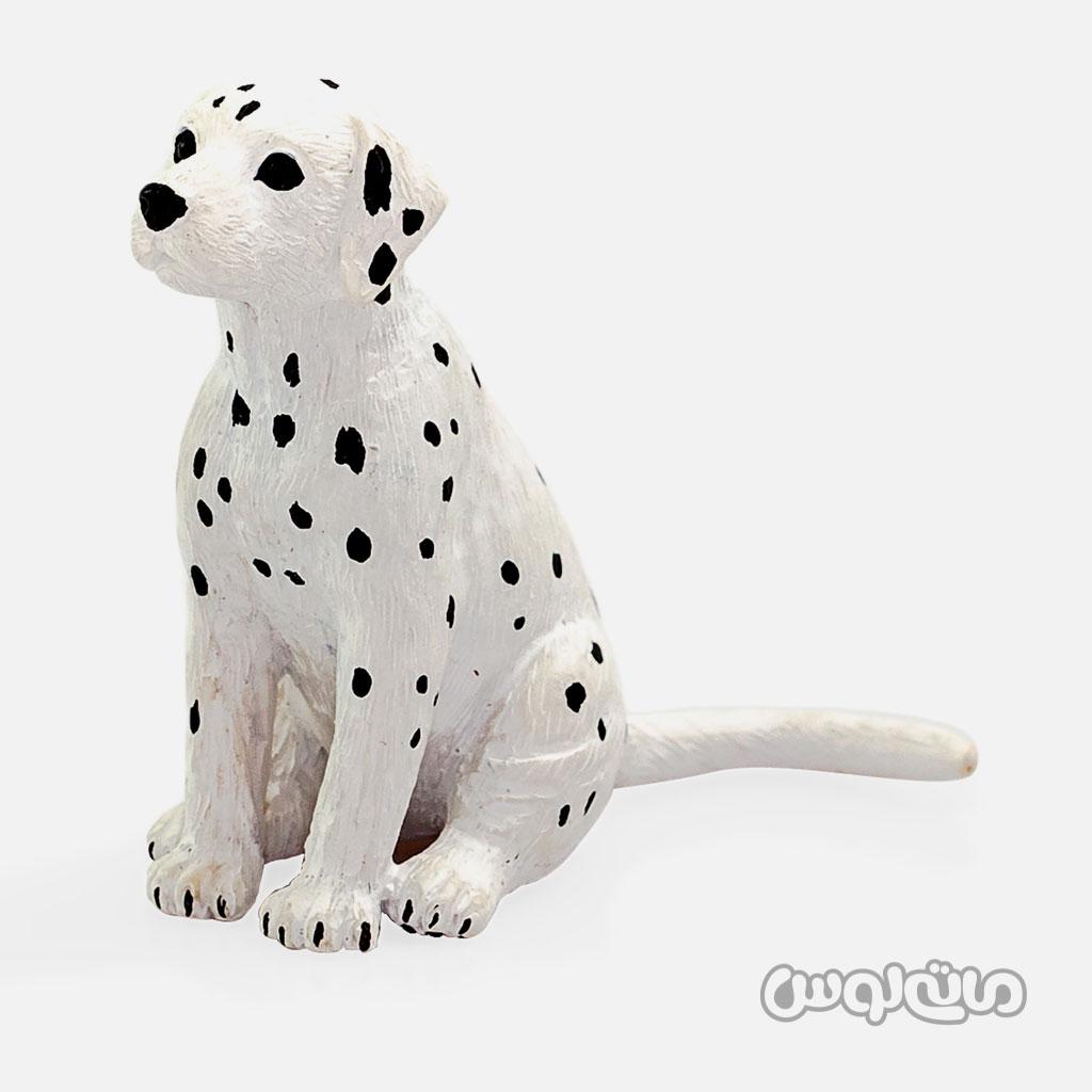 فیگور توله سگ دالمیشن یه رنگ سفید با خال های کوچک مشکی موجو