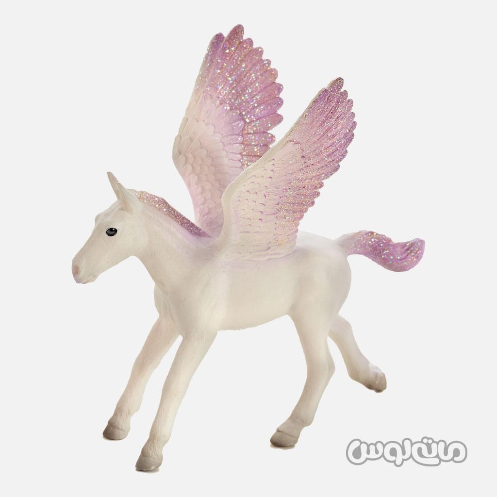 فیگور کره اسب بالدار پگاسوس سفید با بال های بنفش موجو