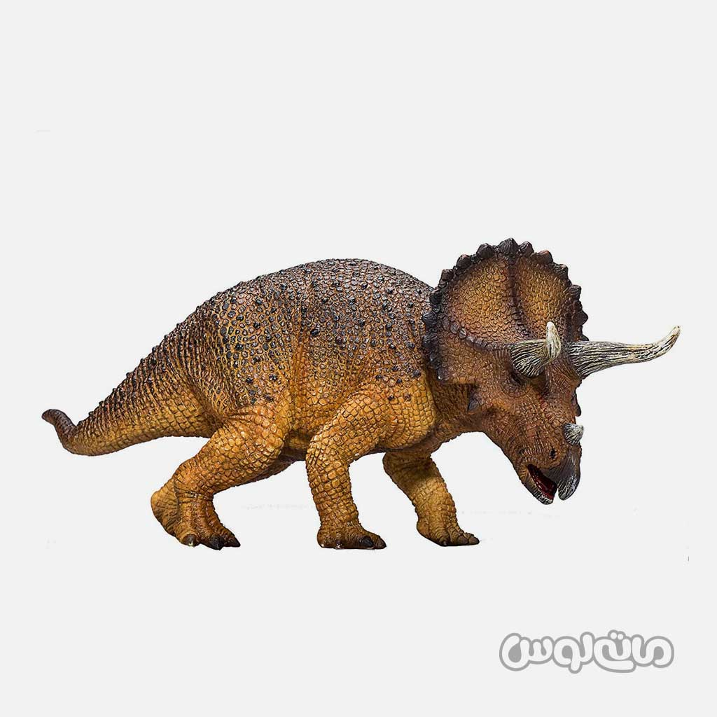 فیگور دایناسور تریسراتوپس نارنجی قهوه ای با شاخ و سر بزرگ موجو