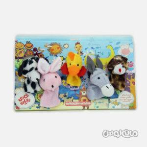 5 عروسک انگشتی حیوانات مزرعه شادی رویان طرح سگ خرگوش گربه الاغ و جوجه