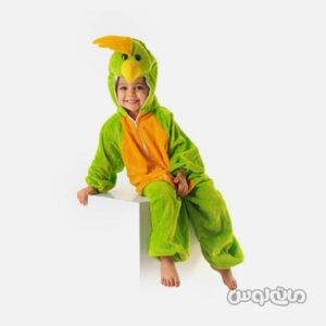 لباس سرهمی کاستوم سبز نارنجی اردک سایز 1 شادی رویان