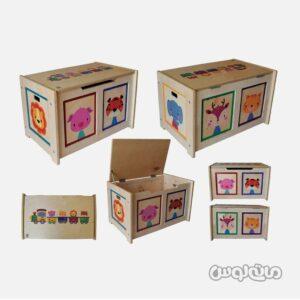 جعبه اسباب بازی چوبی درب دار پوپولوس