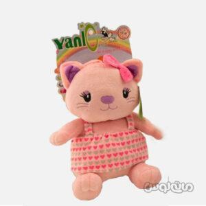 عروسک پلاش گربه موزیکال صورتی یانیک