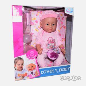 عروسک نوزاد با لگن و پوشک و ظرف غذا وارم بی بی