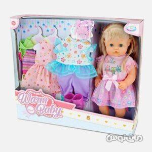 عروسک همراه با 3 ست لباس اضافه وارم بی بی