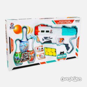 اسباب بازی تفنگ 2 در 1 آبپاش و تیر ابری همراه با بولینگ جیای هونگ کی