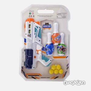 اسباب بازی تفنگ 2 در 1 آبپاش و تیر ابری وکیومی همراه با بولینگ جیای هونگ کی