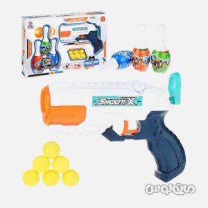 اسباب بازی تفنگ 2 در 1 آبپاش و تیر ابری کوچک همراه با بولینگ جیای هونگ کی